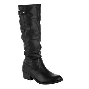 Women's Time and Tru Tall Slouch Winter Black Boot